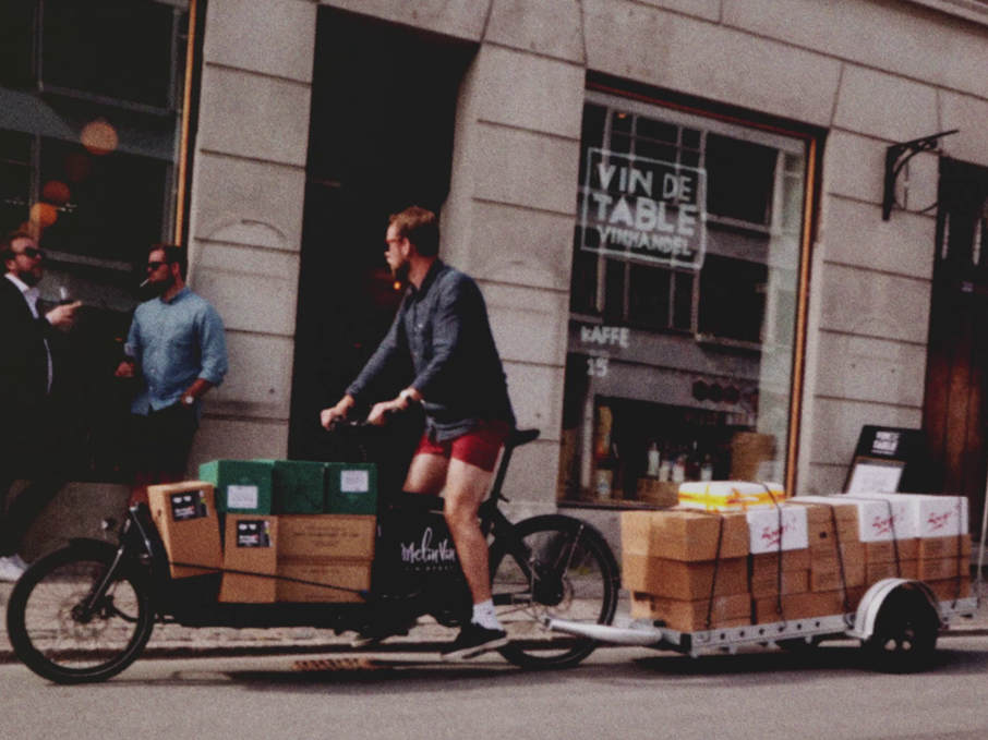 Delivering Wine in Copenhagen by Bike