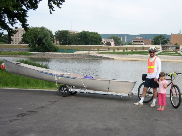 carrying a canoe on a 96A bicycle trailer