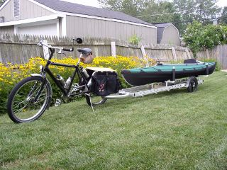 carrying a kayak on a 96A bicycle trailer